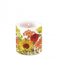 Decorative candle small - Sunny Flowers Cream