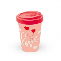 Bamboo mug To-Go - Love Balloons Pale Rose