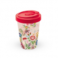Bamboo mug To-Go - Embroidery Flowers Rose