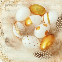 Servietten 25x25 cm - Golden Eggs