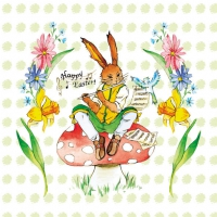 Servietten 33x33 cm - Easter Song Green