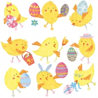 Servietten 33x33 cm - Easter Chicks White