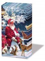 handkerchiefs - Santa On Bench
