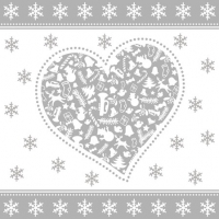 Cocktail Servietten CHRISTMAS HEART SILVER