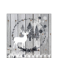 Servietten 25x25 cm - Wooden Scene Grey