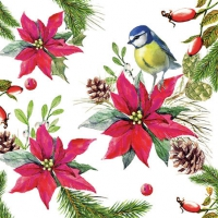 Servietten 25x25 cm - Bird On Poinsettia White