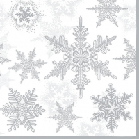 Lunch Servietten SNOW CRYSTALS SILVER