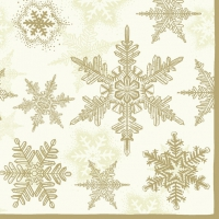Servietten 33x33 cm - Snow Crystals Cream/Gold