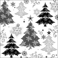 Servietten 33x33 cm - Design Trees Black