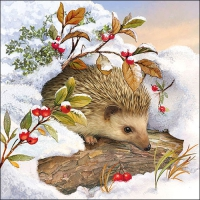 Servietten 33x33 cm - Hedgehog In Snow