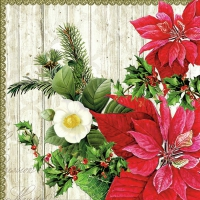 Servietten 33x33 cm - Poinsettia On Wood