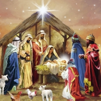 Servietten 33x33 cm - Nativity Collage