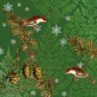 Lunch Servietten Pinecone Ornaments Green