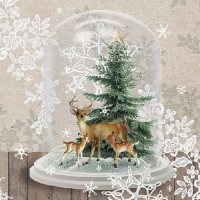 Servietten 33x33 cm - Deers In Glassbell