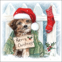 Servietten 33x33 cm - Christmas Puppy