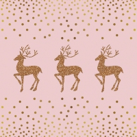 Servietten 33x33 cm - Deer And Dots Rose/Gold