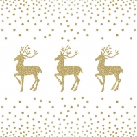 Servietten 33x33 cm - Deer And Dots White/Gold