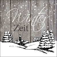 Servietten 33x33 cm - Winter Zeit Grey