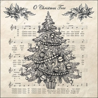 Servietten 33x33 cm - O Christmas Tree Black