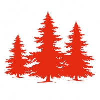 Servietten 33x33 cm - Tree Silhouette Red