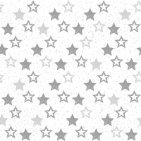 Servietten 33x33 cm - Stars All Over Silver