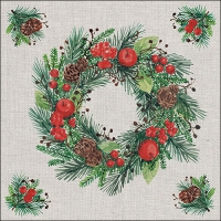 Servietten 33x33 cm - Wreath on Linen