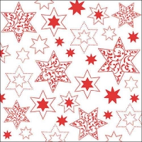 Servietten 33x33 cm - Ornaments In Stars Red