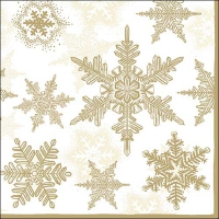 Servietten 33x33 cm - Snow Crystals Gold/White