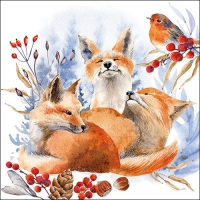 Servietten 33x33 cm - Foxes And Robin