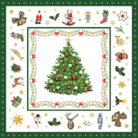 Servietten 33x33 cm - Christmas Evergreen White