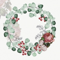 Servietten 33x33 cm - Wreath of Eucalyptus Grey