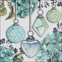 Napkins 33x33 cm - Hanging Baubles Green