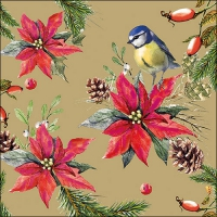 Servietten 33x33 cm - Bird On Poinsettia Gold