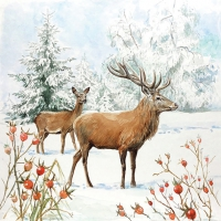 Servietten 33x33 cm - Deer In Snow
