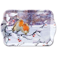 Tablett - 13X21cm Robins On Branch