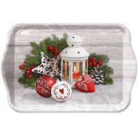 Tablett - 13X21cm White Lantern