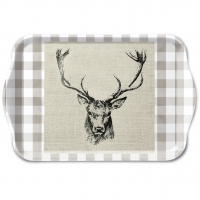 Tablett - Checked Stag Head Brown