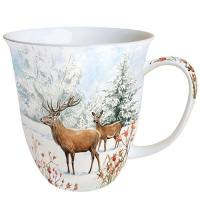 Porcelain Cup - Deer In Snow