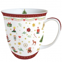 Porcelain Cup - Ornaments All Over Red