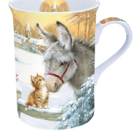 Porzellan-Tasse - Donkey And Kitten