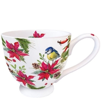 Porzellan-Tasse - Bird On Poinsettia White