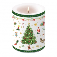 decorative candle - Christmas Evergreen White