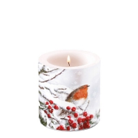 Decorative candle small -  Robin In Snow