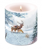 Decorative candle small -  Deer Family