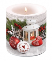 Decorative candle small -  White Lantern