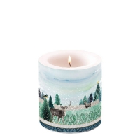Decorative candle small -  Deer Winterscene
