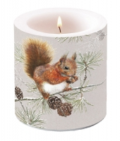 Decorative candle small -  Squirrel In Winter