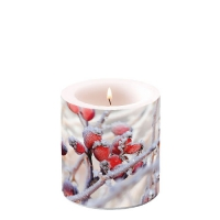 Decorative candle small -  Frozen Rosehips