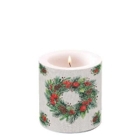 Decorative candle small -  Wreath On Linen
