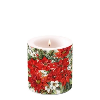 Decorative candle small -  Poinsettia All Over
